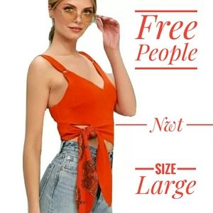 Free people red paisley side tie tank top large